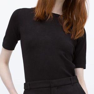 Zara knit black short sleeved sweater NWT